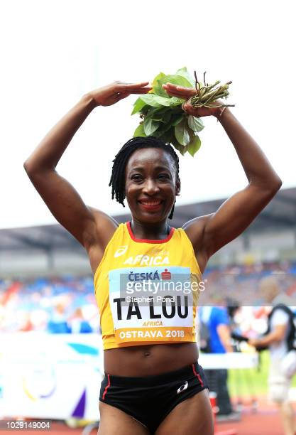 Marie-Josee Ta Lou of Team Africa celebrates victory following the Womens 100 Metre during day one of the IAAF Continental Cup at Mestsky Stadium on...