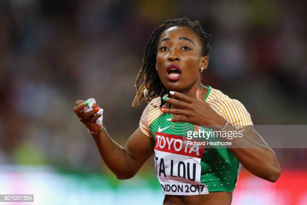 MarieJosee Ta Lou of the Ivory Coast reacts after placing second in the Women's 100 Metres Final during day three of the 16th IAAF World Athletics...
