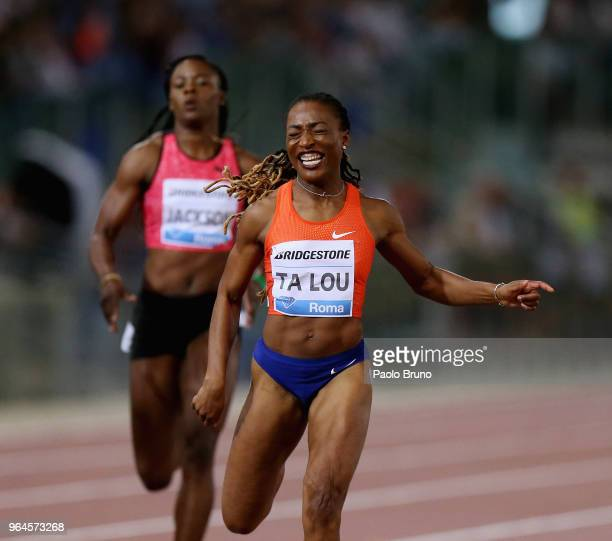Marie-Josee Ta Lou of the Ivory Coast wins the women's 200m during the IAAF Golden Gala Pietro Mennea at Olimpico Stadium on May 31, 2018 in Rome,...