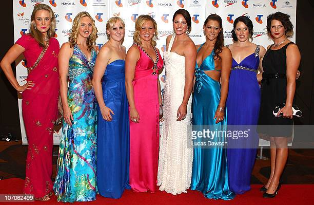 Marieke Guehrer, Melissa Gorman, Jessicah Schipper, Kylie Palmer, Emily Seebohm, Blair Evans, Alicia Coutts and Leisel Jones arrive at the Telstra...