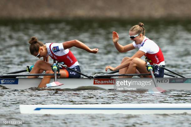 Marieke Keijser and Ilse Paulis of Netherlands celebrate winning in the final of Lightweight Women's Double Sculls during the rowing on Day Four of...