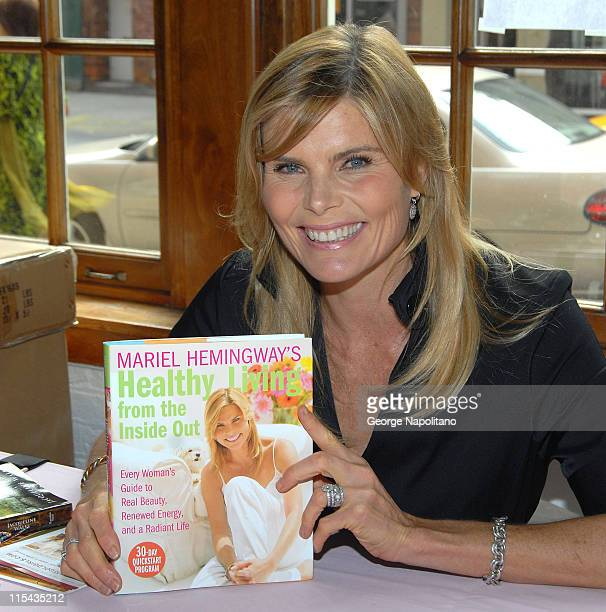 Mariel Hemingway holds a copy of her book 'Healthy Living' at the 'Ladies Who Launch Live' at the Altman Building in New York City on October 18 2007
