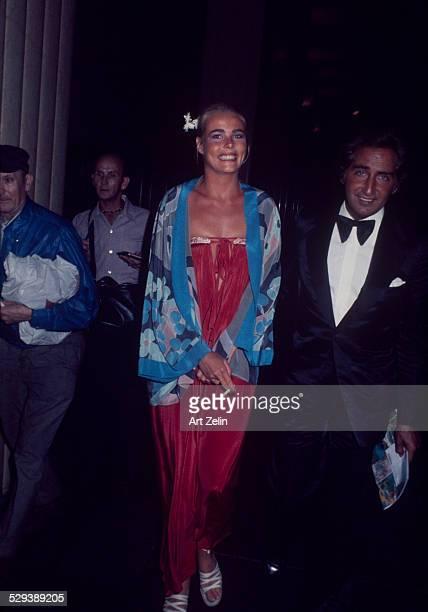 Mariel Hemingway in a blue flowered silk jacket at a formal event circa 1970 New York