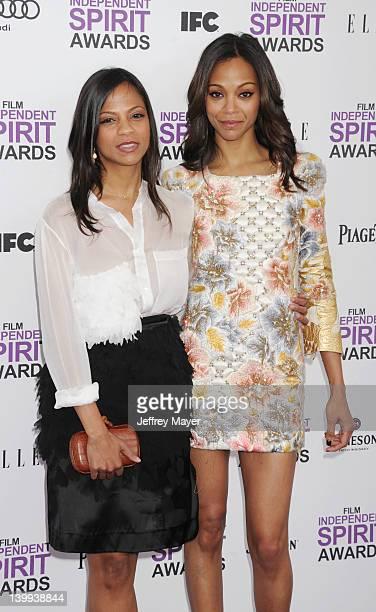 Mariel Saldana and Zoe Saldana arrive at the 2012 Film Independent Spirit Awards at Santa Monica Pier on February 25, 2012 in Santa Monica,...