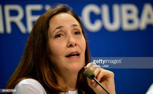 Mariela Castro, daughter of former Cuban president Raul Castro and director of the National Center for Sexual Education speaks during a press...
