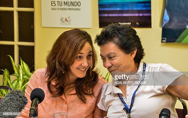 Mariela Castro Espin daughter of Cuban President Raul Castro and director of the Cuban National Center for Sexual Education talks with Mexican Gloria...