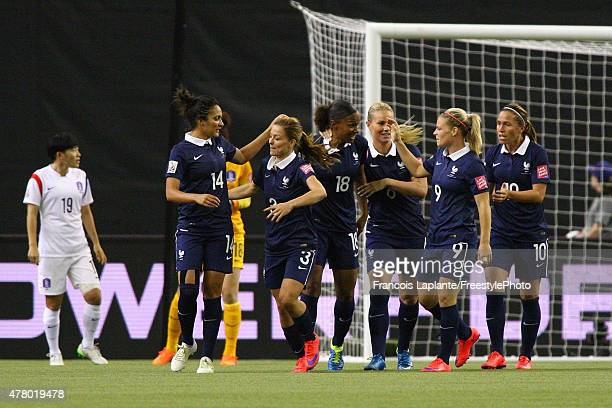 MarieLaure Delie of France celebrates a goal with teammates against team Korea during the FIFA Women's World Cup Canada 2015 round of 16 match...