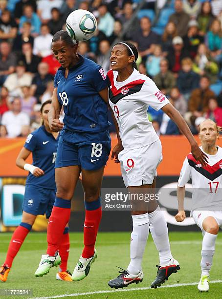 MarieLaure Delie of France jumps for a header with Candace Chapman of Canada during the FIFA Women's World Cup 2011 Group A match between Canada and...