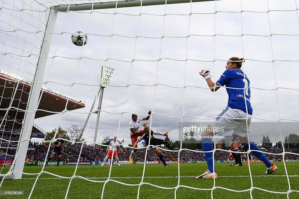 Marie-Laure Delie of Paris St. Germain heads their first goal past Kathrin-Julia Hendrich of 1. FFC Frankfurt during the UEFA Women's Champions League Final between 1. FFC Frankfurt and Paris St. Germain at Friedrich-Ludwig-Jahn Sportpark on May 14, 2015 in Berlin, Germany.