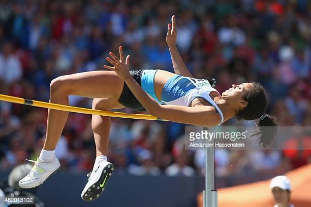 MarieLaurence Jungfleisch of Tuebingen competes in the high jump finale during day 3 of the German Championships in Athletics at Grundig Stadium on...