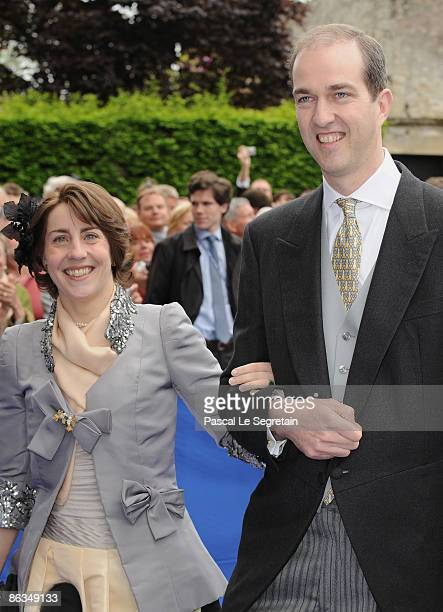 Marie-Liesse de Rohan-Chabot and Eude D'Orleans arrive at the Senlis Cathedral to attend the wedding of Jean de France with Philomena de Tornos on...