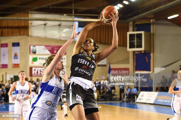 Mariell Amant of Villeneuve d Asq and Elodie Godin of Montpellier during the women's french League final match between Montpellier Lattes and...