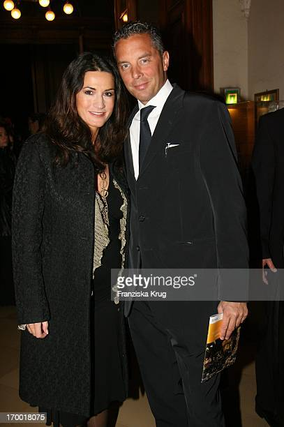 """Mariella Ahrens and fiancé Patrick Graf von Faber-Castell In The """"Everyman"""" Premiere In Berlin Cathedral on 191006."""