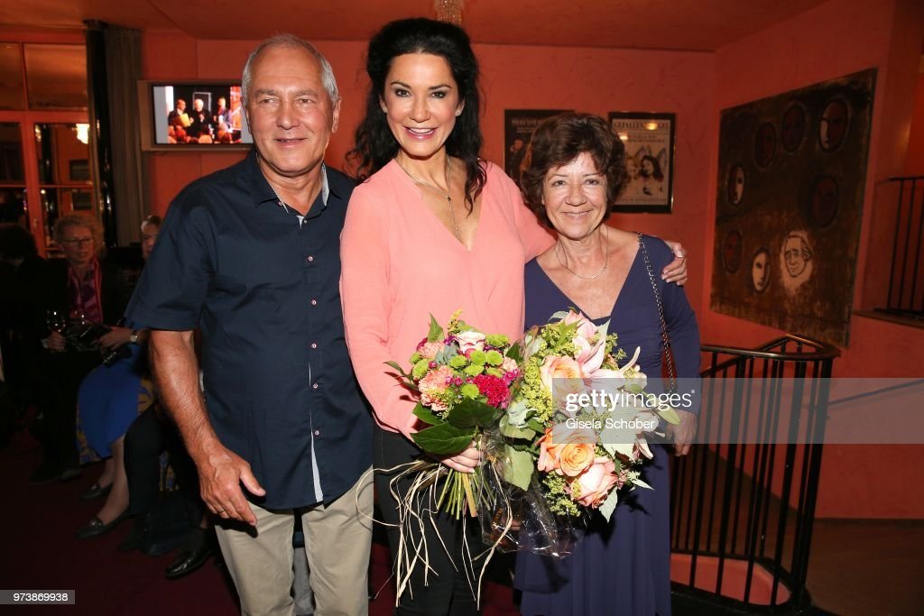 Mariella Ahrens and her father Reinhard Ahrens and her mother Svetla Ahrens during the 'Mirandolina' premiere at Komoedie Bayerischer Hof on June 13, 2018 in Munich, Germany.