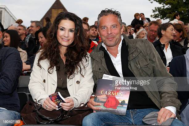 Mariella Ahrens and her husband Patrick von Farber-Castell attend the 'Seefestspiele' Open With Carmen in the Wannseebad on August 16, 2012 in...
