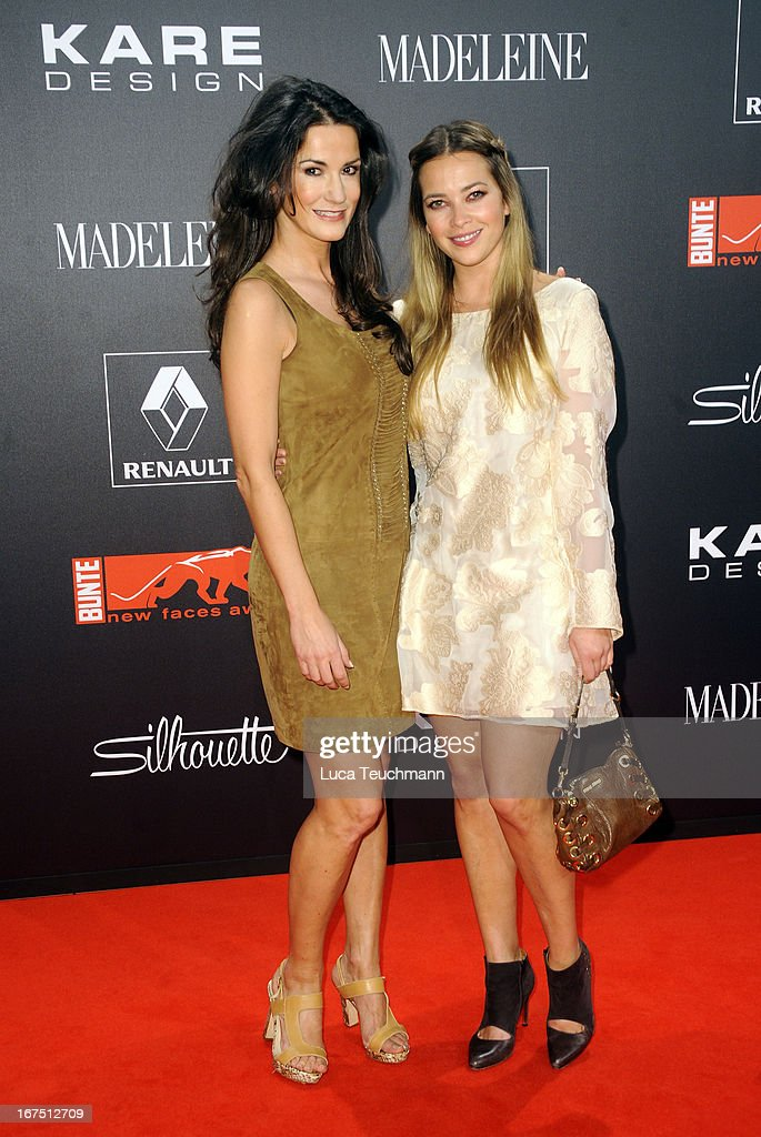 Mariella Ahrens and Laura Osswald attend the new faces award Film 2013 at Tempodrom on April 25, 2013 in Berlin, Germany.