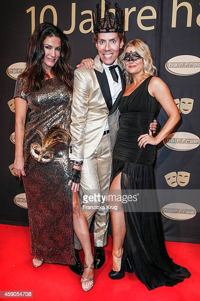 Mariella Ahrens Jens Hilbert and Jennifer Knaeble attend the Hairfree Celebrates 10 Year Anniversary with Bal Masque on November 15 2014 in Darmstadt...
