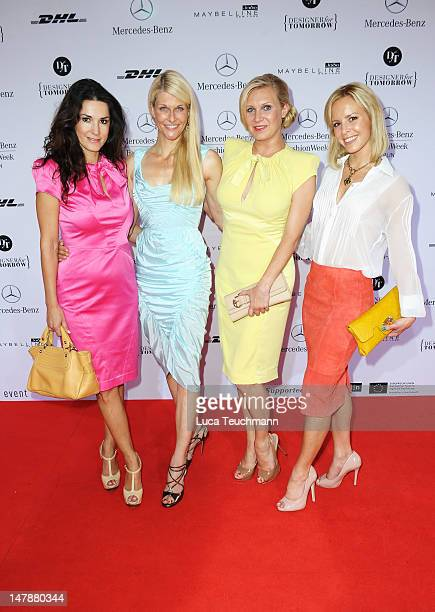 Mariella Ahrens, Natascha Gruen, Magdalena Brzeska and Isabell Edvardson arrive for the Unrath&Strano Red Carpet at the Mercedes-Benz Fashion Week...