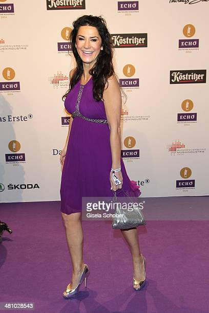 Mariella Ahrens poses on the red carpet prior the Echo award 2014 at Messe Berlin on March 27 2014 in Berlin Germany