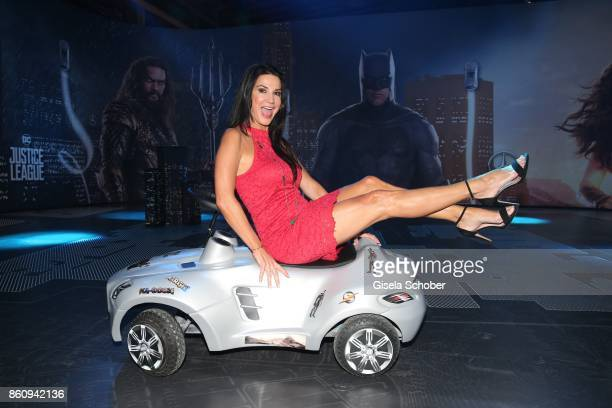 Mariella Ahrens sits on a Mercedes Benz bobby car during the 'Tribute To Bambi' gala at Station on October 5 2017 in Berlin Germany