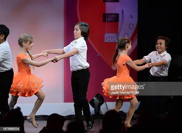 Mariella Rickel and dancers perform at the 20th Annual Race To Erase MS Gala Love To Erase MS at the Hyatt Regency Century Plaza on May 3 2013 in...