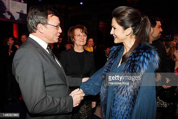 Mariella von FarberCastell and Volker Herres attend 'ARD Degeto Blue Hour' Party in the Museum of communication in Berlin on February 11 2012 in...
