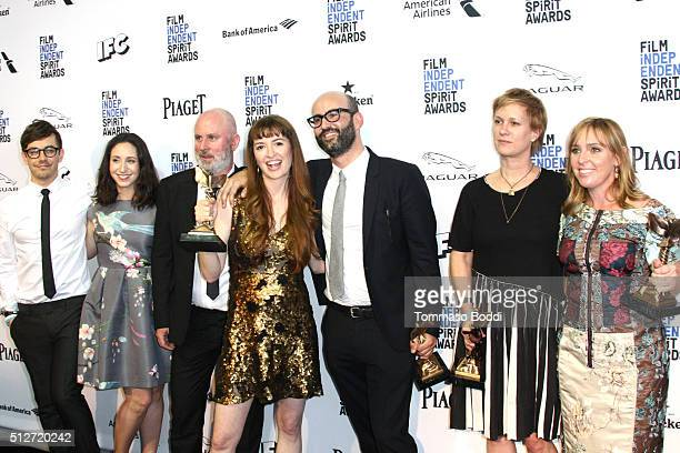 Marielle Heller and the cast and crew of 'Diary of a Teenage Girl' pose in the press room with the award for Best First Feature during the 2016 Film...