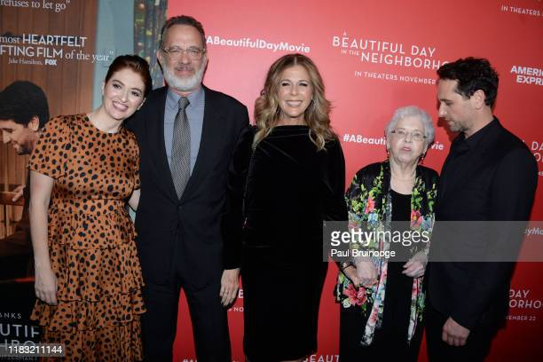 Marielle Heller Tom Hanks Rita Wilson Joanne Rogers and Matthew Rhys attend New York Special Screening Of A Beautiful Day In The Neighborhood at...