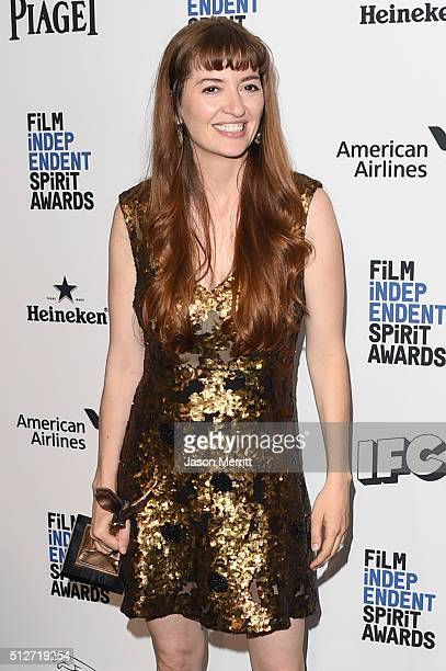 Marielle Heller winner of Best First Feature for 'The Diary of a Teenage Girl poses with award in the press room during the 2016 Film Independent...