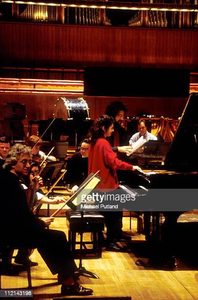 Marielle Labeque and Giuseppe Sinopoli in rehearsal Royal Festival Hall London January 1994