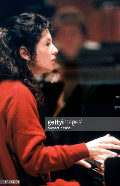 Marielle Labeque performs on stage in rehearsal Royal Festival Hall London January 1994