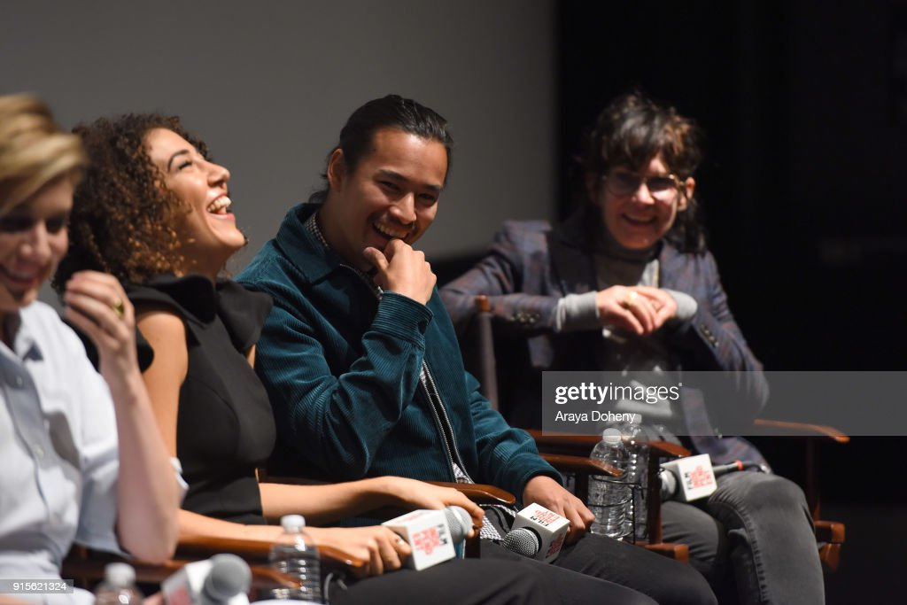 Marielle Scott, Jordan Rodrigues and April Napier attend the Film Independent Hosts Directors Close-Up Screening Of 'Lady Bird' at Landmark Theatre on February 7, 2018 in Los Angeles, California.