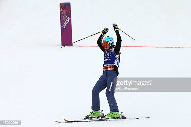 Marielle Thompson of Canada celebrates winning the gold medal in the Freestyle Skiing Womens' Ski Cross Final on day 14 of the 2014 Winter Olympics...