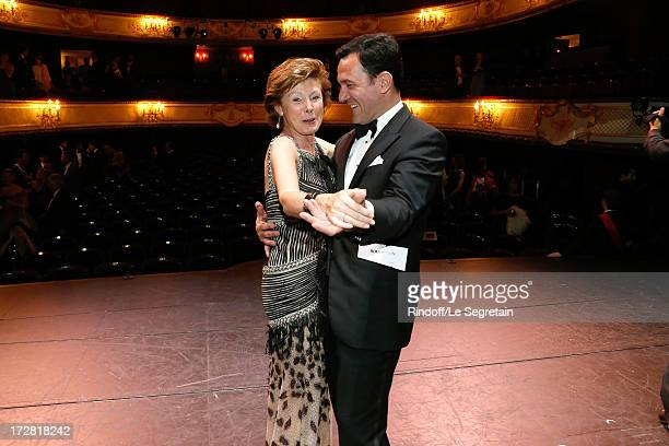 MarieLouise de Clermont Tonnerre and CEO Boucheron Pierre Bouissou dancing on stage after a Show written by Muriel Mayette and an auction of stage...