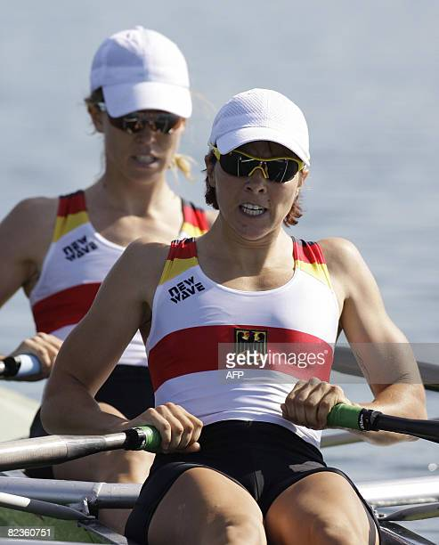 MarieLouise Draeger and Berit annika Carow of Germany power their boat during a Lightweight women's double sculls semifinal of the 2008 Beijing...