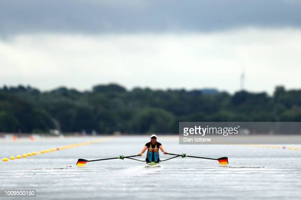 MarieLouise Draeger of Germany competes in the lightweight women's single sculls heat 1 during the Rowing on Day one of the European Championships...