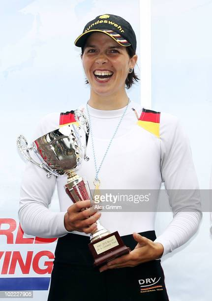 Marie-Louise Draeger of Germany poses after winning the women's lightweight single sculls final during the FISA Rowing World Cup on June 19, 2010 in...