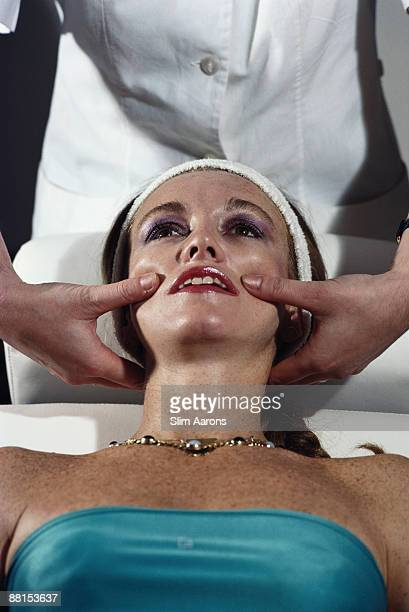 MarieLouise Scio receives a facial massage at the Tettuccio Terme in Montecatini Italy November 1980
