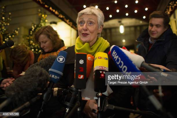 Marieluise Beck spokeswomen for Eastern European politics of the German Green Party speaks to the media after she met Mikhail Khodorovsky in his...