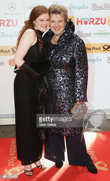 Marie-Luise Marjan and Anja Antonowicz arrive at the Goldene Kamera Awards at the Axel Springer building February 2, 2006 in Berlin, Germany.