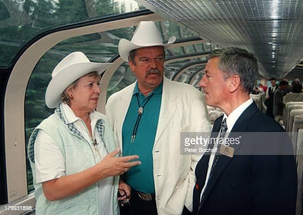 "Marie-Luise Marjan, Lebensgefährte Bodo;Bressler, Gordon Sim , Kanada,;Urlaub, ""Rocky Mountaineer"", Zug, Freund,"