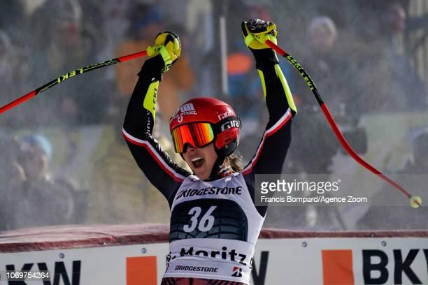Mariemichele Gagnon of Canada celebrates during the Audi FIS Alpine Ski World Cup Women's Super G on December 8 2018 in St Moritz Switzerland