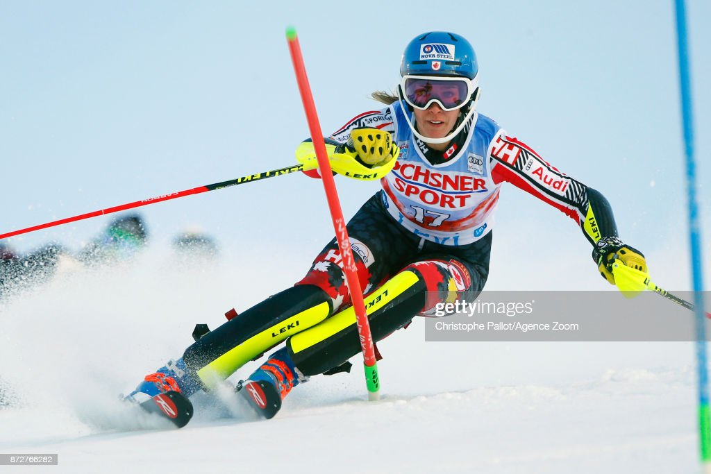 Marie-michele Gagnon of Canada competes during the Audi FIS Alpine Ski World Cup Women's Slalom on November 11, 2017 in Levi, Finland.