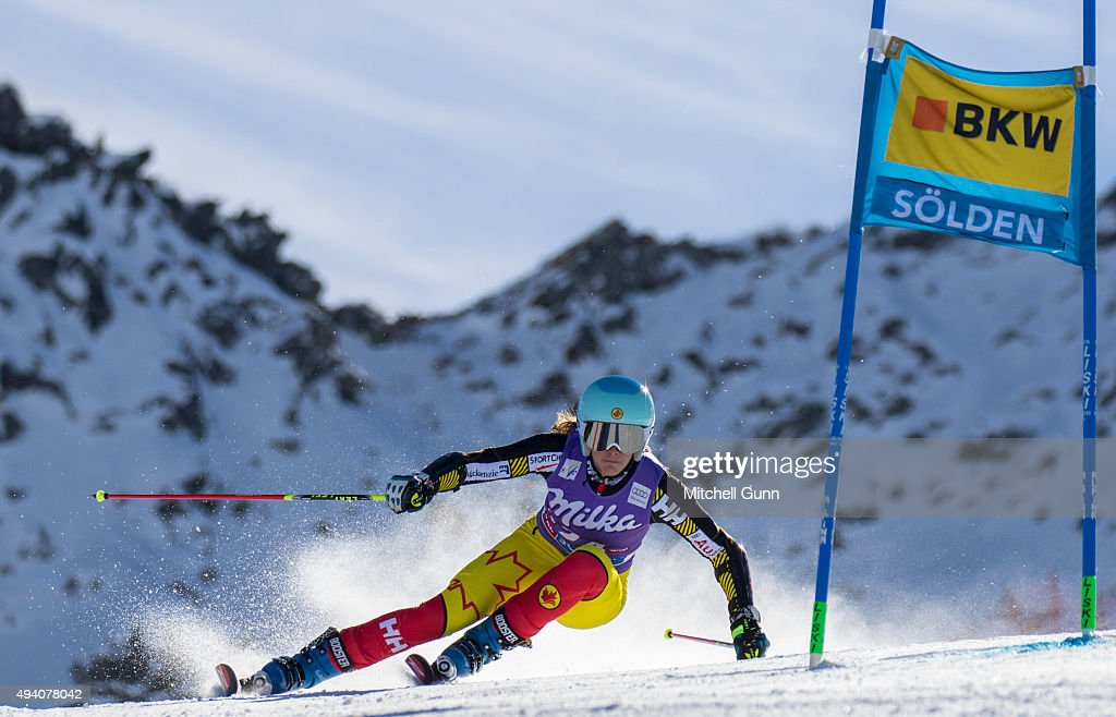 Marie-Michele Gagnon of Canada during the Audi FIS Ski World Cup women's giant slalom race on the Rettenbach Glacier on October 24, 2015 in Soelden, Austria.