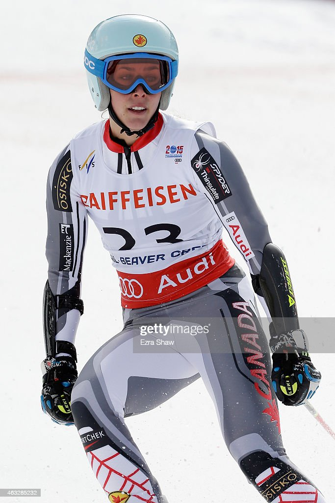 Marie-Michele Gagnon of Canada reacts during the Ladies' Giant Slalom on the Raptor racecourse on Day 11 of the 2015 FIS Alpine World Ski Championships on February 12, 2015 in Beaver Creek, Colorado.