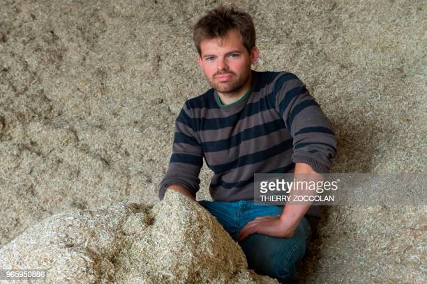 Marien Sablery an agricultor cultivating organic hemp on 25 hectares poses in Evaux les Bains Creuse region on May 31 2018 Emmanuel Macron gave this...