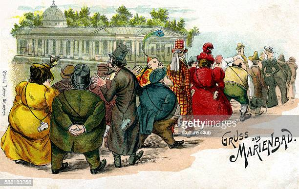Marienbad Spa greetings card People queuing up to take the medicinal waters of the spa in the Czech Republic