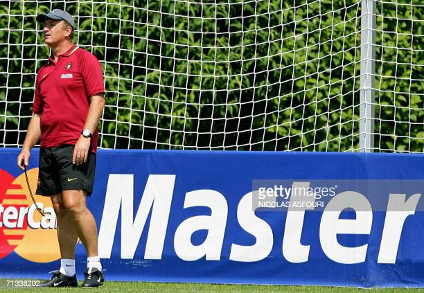 Brazilian head coach of the Portuguese team Luiz Felipe Scolari watches his players during a team training session at The Klosterpforte Hotel in...