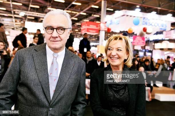 MarieOdile Fondeur directrice générale des salons EuropainIntersuc et SuccessFood et le chef étoilé Alain Ducasse lors de la Coupe du Monde de...