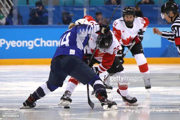 MariePhilip Poulin of Canada and Brianna Decker of the United States battle for the opening faceoff to start the Women's Gold Medal Game on day...